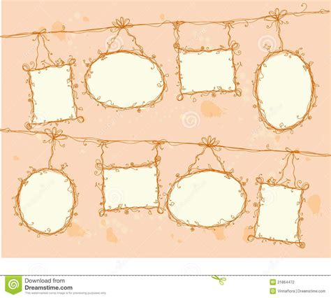 doodle frame vector free doodle frames hanging on a rope vector stock vector