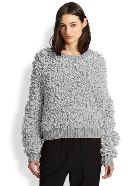 Sweater Pria Famo 22 Light Grey Lyst Mm6 By Maison Martin Margiela Oversized Shaggy