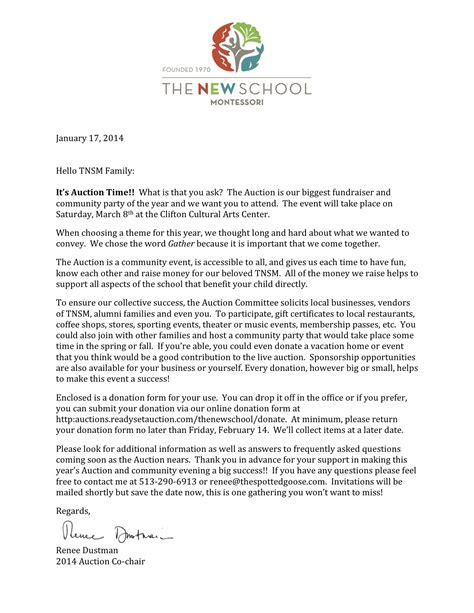 Kinder Fundraising Letter Auction Letter And Donation Form The New School Montessori