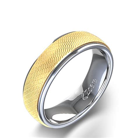 unique men s wedding ring in 14k two tone gold