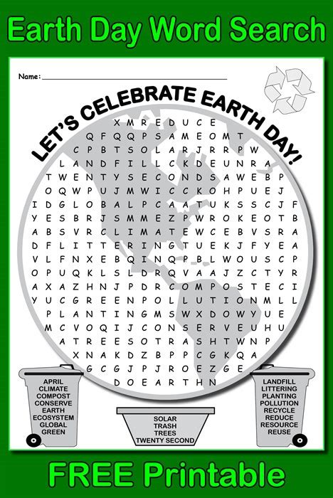 Earth Search Free Printable Earth Day Word Search