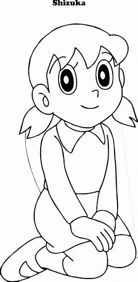 doraemon mewarnai gambar shizuka contoh anak paud