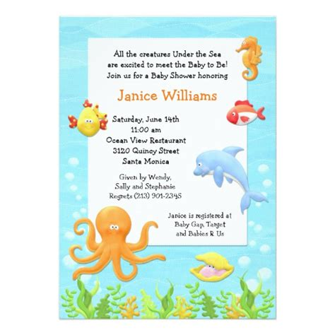 The Sea Baby Shower Invitations by The Sea Baby Shower Invitation 5 Quot X 7 Quot Invitation