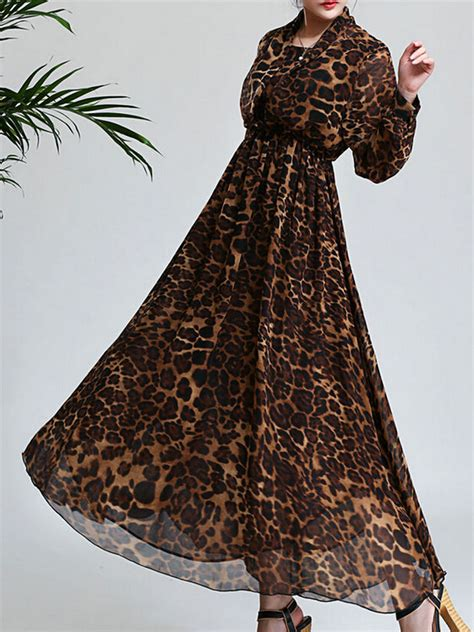 Maxi Dress Trendy 2017 Maxi Leopard coquette leopard high waist sleeve chiffon maxi dress 70 discount excellent quality 28 9800