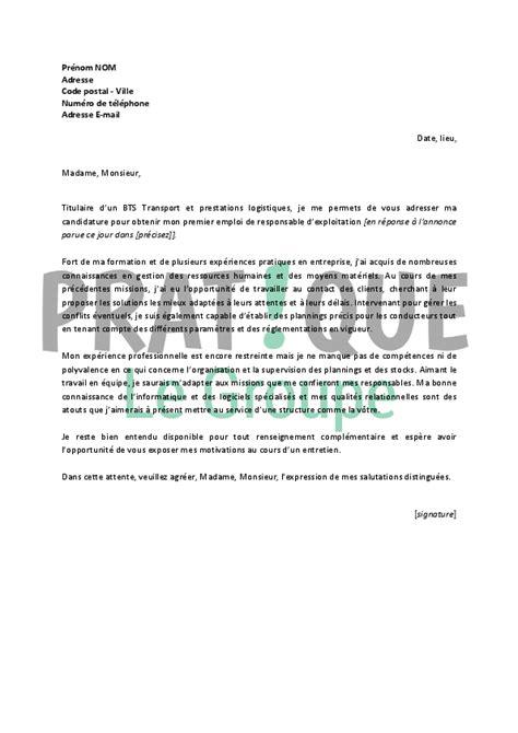Exemple De Lettre De Motivation Responsable Logistique lettre de motivation pour un emploi de responsable d