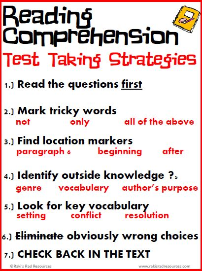reading comprehension test taking strategies free reading comprehension test taking strategies posters