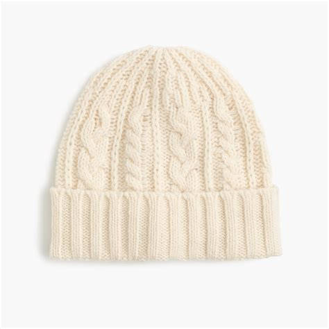 white cable knit hat j crew lambswool cable knit hat in white ivory lyst