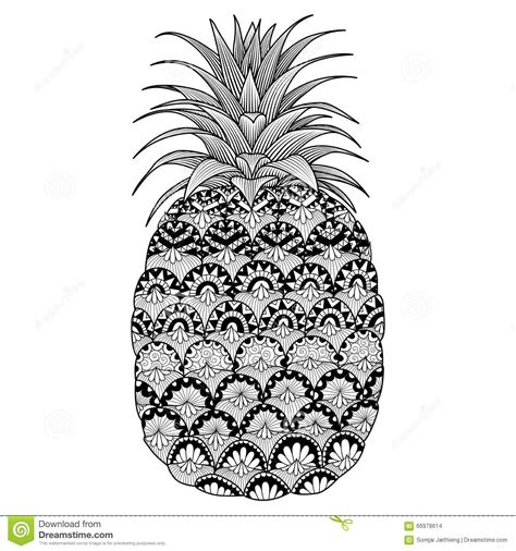 line art design of pineapple for coloring book for