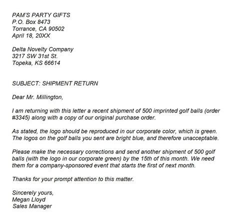 Complaint Letter In Exle Business Letter Of Complaint