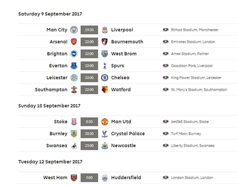 epl jadual epl 2017 2018 liga perdana inggeris jadual keputusan