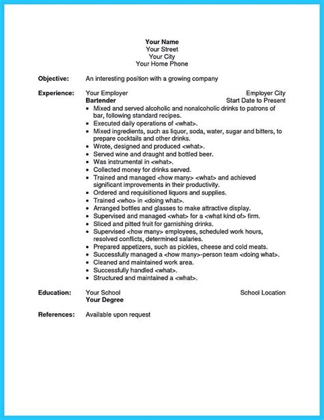 bartender description for resume 25 best ideas about resume template australia on