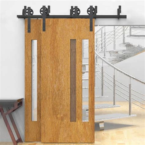 Bypass Barn Door Track Winsoon 5 16ft Bypass Sliding Barn Door Hardware Track Kit New Black Wheel