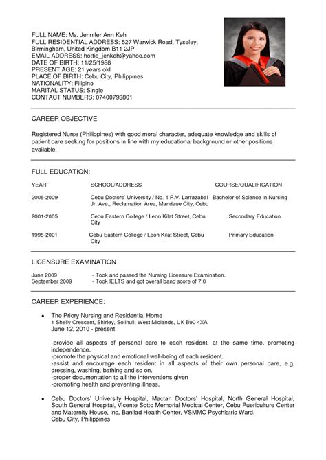 exles of a resume resume nurses sle sle resumes