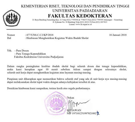 Motivation Letter Fakultas Kedokteran fakultas kedokteran unpad rilis imbauan shalat tepat waktu