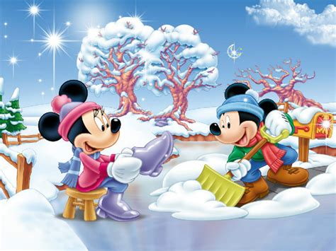minnie  mickey mouse winter snow fence yard blue sky