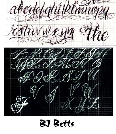 tattoo fonts alphabet free cursive lettering styles for tattoos