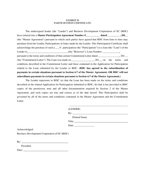 Letter Of Agreement To Participate Sc Ssbci Loan Participation Program Master Loan Participation Agreement Free