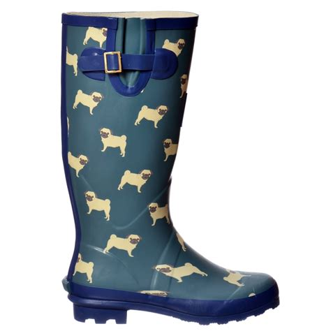 pug boots for dogs womens funky flat wellie wellington festival boots dogs pug westie ebay