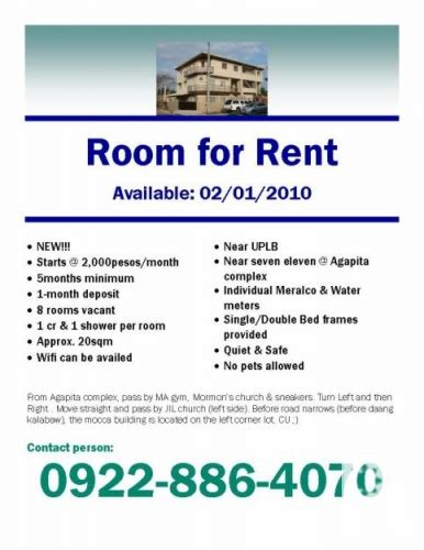 Room For Rent Uplb Los Ba 241 Os For Sale In Los Ba 241 Os Calabarzon Classified Sublet Advertisement Template