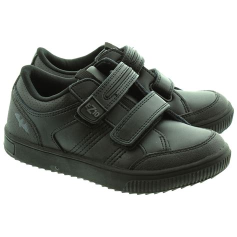 school shoe ez10 power1 velcro school shoes in black in black