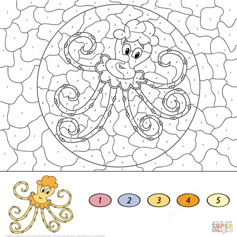 color by number octopus color by number free printable coloring