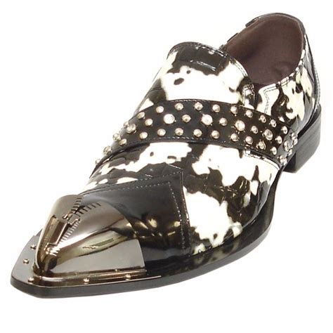 black pattern leather shoes fiesso leather black white animal pattern pointed metal