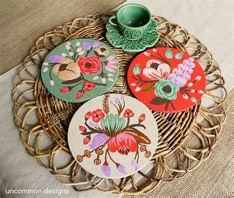 Decoupage Coasters - pretty painted and decoupaged coasters mod podge rocks