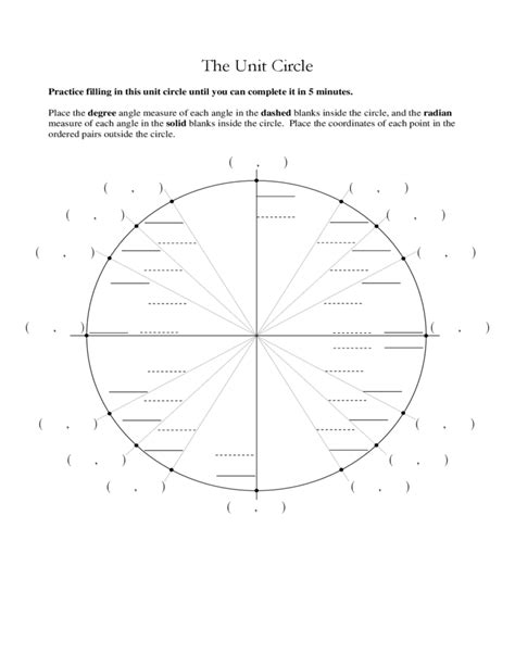 printable unit circle diagram worksheets unit circle practice worksheet opossumsoft