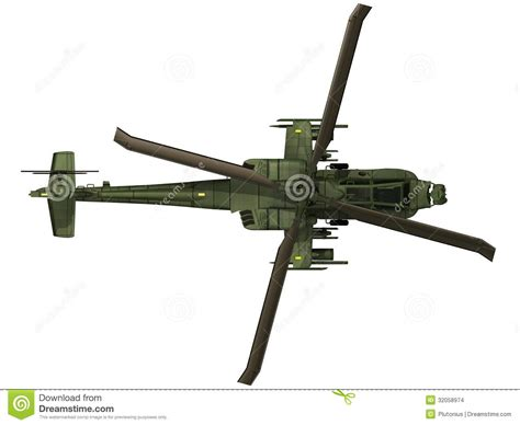 Apache Top 3d rendering of a ah 64 apache top view stock images