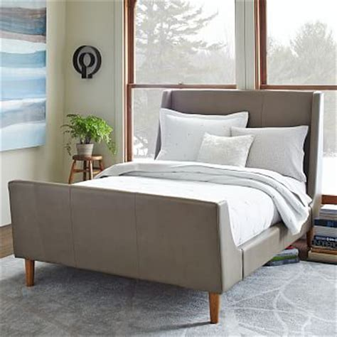 gray sleigh bed leather sleigh bed elephant gray west elm