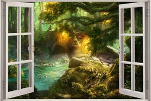 huge 3d window view fantasy forest wall sticker film decal fantasy castle wall mural traditional wall decals by