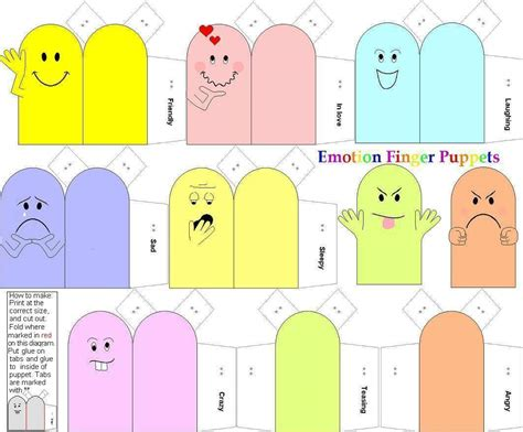 How To Make Finger Puppets With Paper - emotion finger puppets paper dolls and other paper toys
