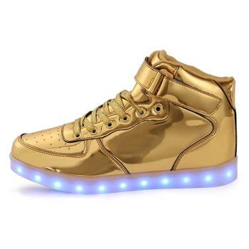 gold light up shoes led shoes high top gold remote