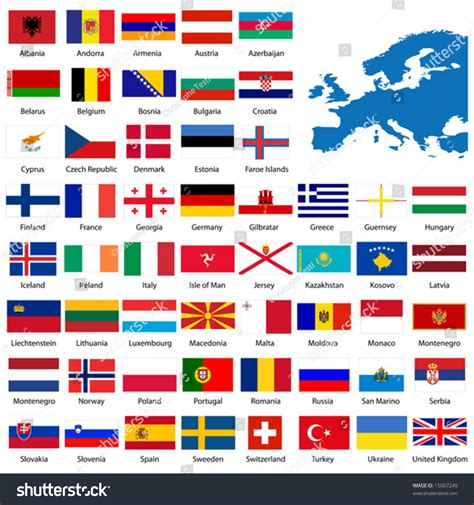 testo white flag official list all european country flags stock vector