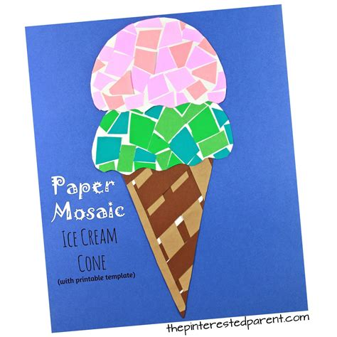 Summer Construction Paper Crafts - printable paper mosaic cone the pinterested parent