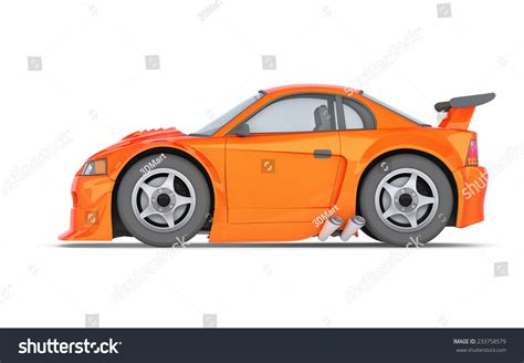 cartoon sports car side cartoon car side view orange cartoon muscle car on white
