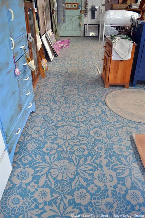 pretty painted floors with flower designs stylishly stenciled floors paint pattern