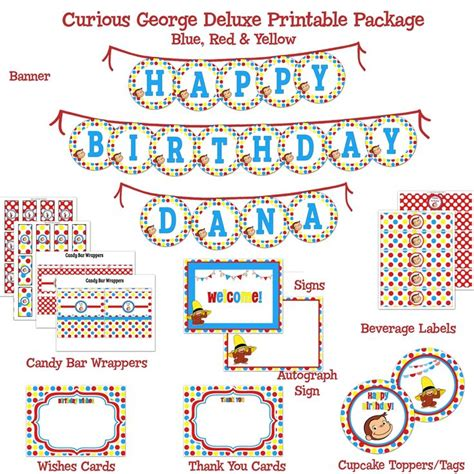 curious george printable birthday banner 62 best birthday printable party packages diy images on