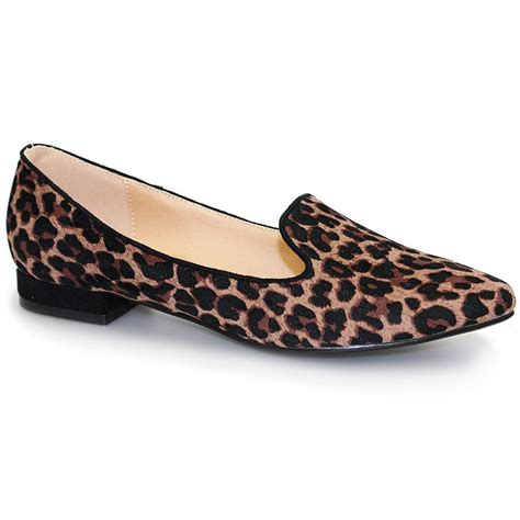flc655 trenton womens slip on leopard print smart pumps