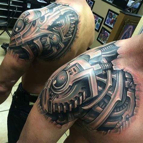 superb 3d biomechancial front and back shoulder tattoo