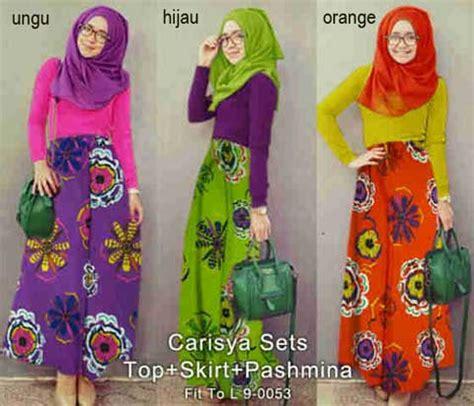 Maxi Maxmara Batik Bunga 5 Warna baju gamis set remaja carisya p925 modern terbaru