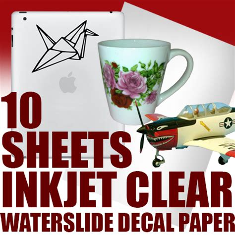 printable clear sticker paper singapore waterslide decal paper white for inkjet printer 10 sheets