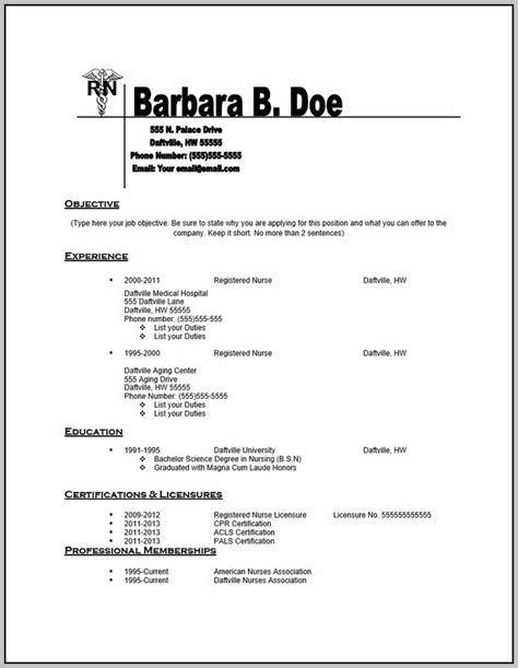 free printable nursing resume templates resume for nursing pdf resume resume exles