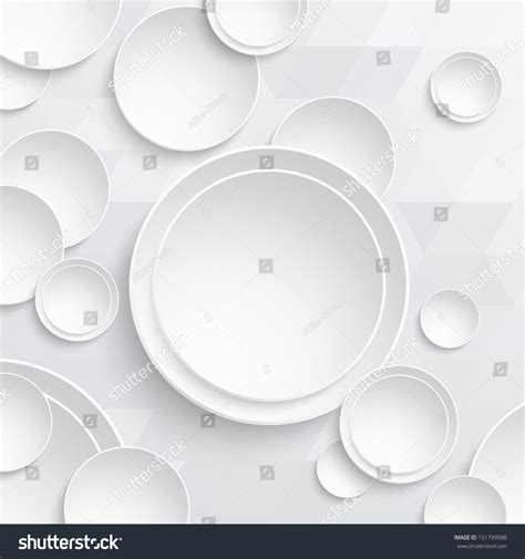 Sticker 3d Wallpaper Dinding Circle Ring 5pcs white paper circles on triangular background stock vector 151799588