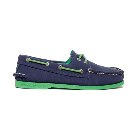 sperry top sider ao canvas neon boat shoes in blue for