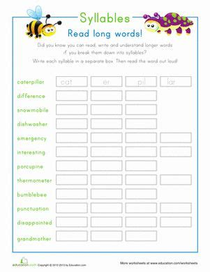 vccv pattern words 2nd grade vccv syllable division worksheets syllable division and