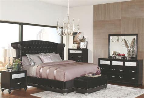 barzini black upholstered upholstered platform bedroom set  coaster coleman furniture