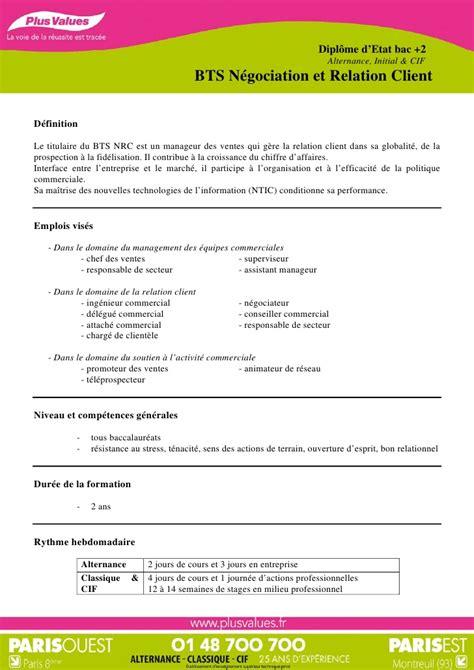 Exemple Lettre De Motivation Pour Cole En Alternance cole plus values bts n 233 gociation et relation client bts