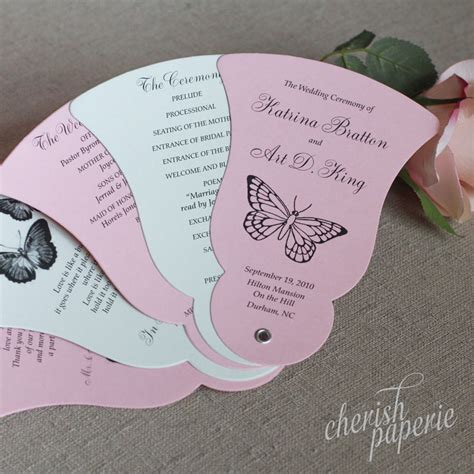 blossom and sage butterfly bell fan wedding programs