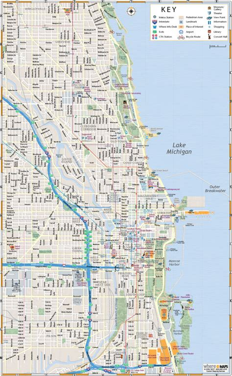 map of chicago map of chicago interactive and printable maps wheretraveler